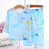 Summer cotton children's children's pajamas set boys and girls cotton long-sleeved trousers thin air conditioning home service baby