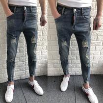 夏季九分裤男修身小脚裤破洞牛仔裤社会精神小伙9分裤薄款男裤子