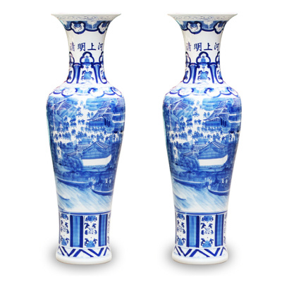 景德镇陶瓷器 手绘青花瓷清明上河图 kk酒店大堂客厅装饰摆件