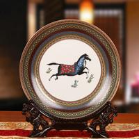 景德镇陶瓷器 欧式马盘子 花盘 挂盘 东南亚家居装饰工艺品摆设