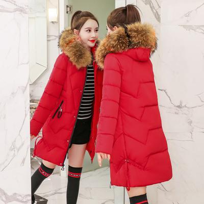 棉衣女中长款加厚大毛领2018新款冬季收腰棉服冬女装棉袄外套冬装