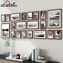 Living room solid wood photo wall decorative photo frame wall hanging wall creative personality combination large size on background wall album Box