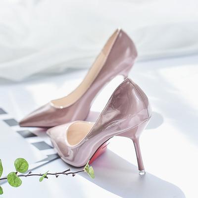模特浅色高跟鞋女细跟欧美2018春季新款33小码漆皮裸色尖头单鞋子