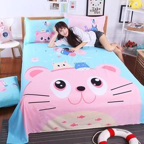 粉色个性寝室可爱单人床单图案公主风儿童单件单子少女卡通
