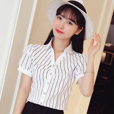 夏季新款短袖韩版衬衫女衬衣修身显瘦百搭黑白条纹学生上衣雪纺衫