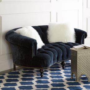 新古典布艺双人弧形沙发欧式复古实木皮艺沙发美式绒布休闲沙发椅