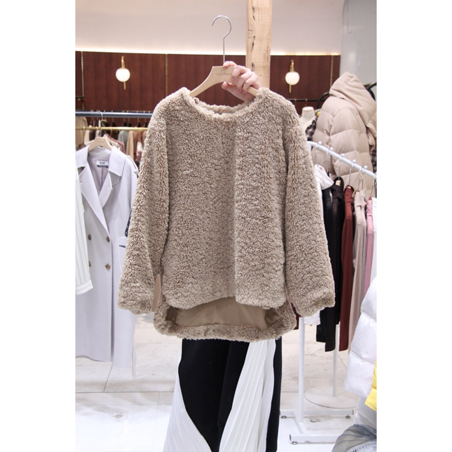 韩国东大门正品代购女装2018秋冬装女士简洁套头上衣均码