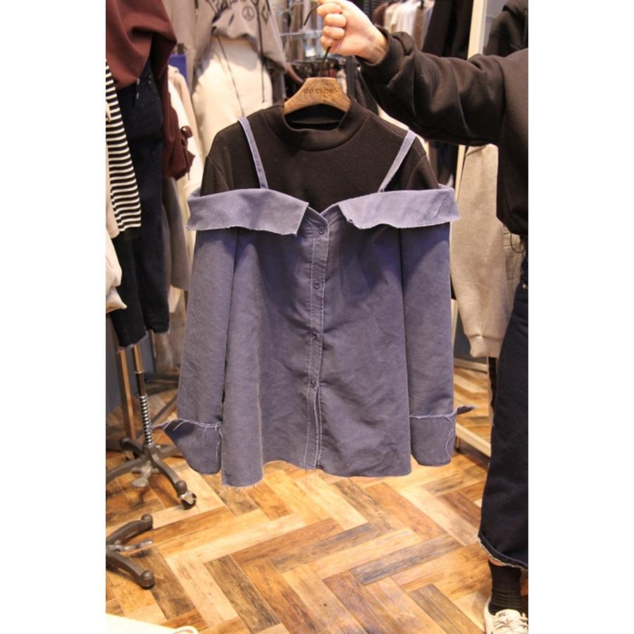 韩国东大门正品代购新款女装2018秋冬装女士吊带拼接衬衫均码