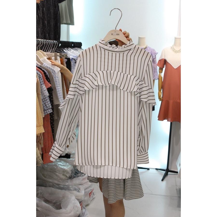 进口韩国东大门正品代购女装2018夏装女士条纹长袖百搭衬衫均码