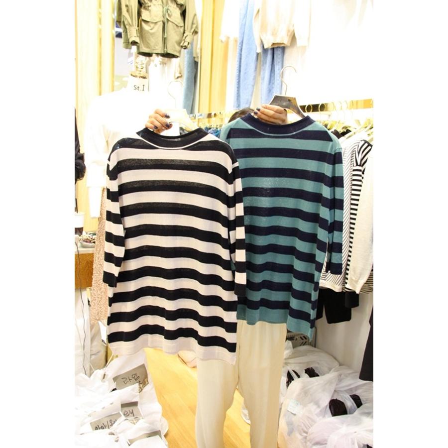 韩国东大门正品代购女装2018秋冬装女士条纹T恤衫左右色均码