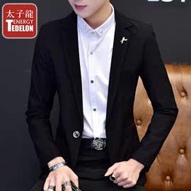太子龙新款休闲小西装男修身韩版潮流帅气商务正装西服男上衣外套图片
