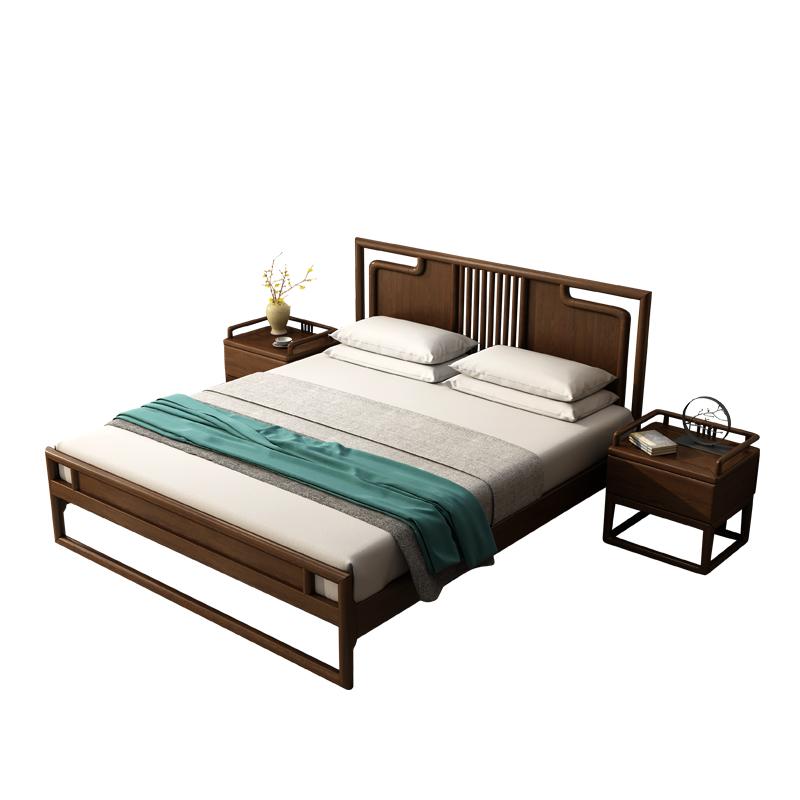 全实木床1.8米白蜡木双人胡桃木色1.5M1.2单人新中式酒店民宿家具