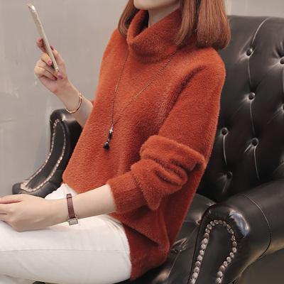 仿貂绒2018秋冬新款欧美女装慵懒宽松高领针织衫套头加厚毛衣保暖