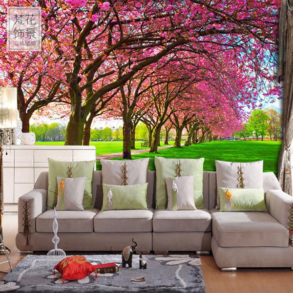 自然风景樱花树林大型壁画3D立体客厅卧室电视背景墙壁纸无缝墙纸