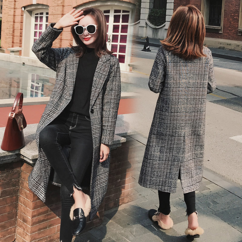 2018 new autumn and winter houndstooth long section long paragraph over the knee woolen windbreaker jacket