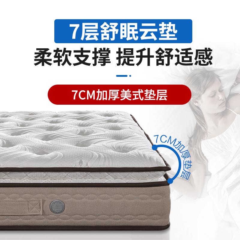 慕思床垫 2cm进口乳胶床垫 七区独立筒弹簧席梦思1.8m双人床 x7