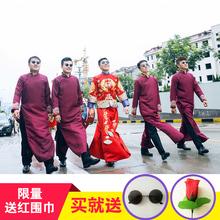 中式婚礼伴郎服装男士唐装结婚中国风马褂长衫伴郎团兄弟装礼服