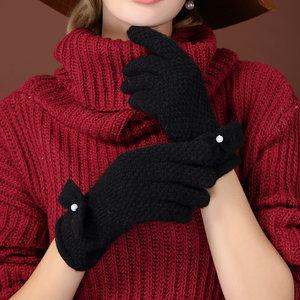 牧马仕可爱毛线手套针织羊毛手套女保暖开车学生手套女士休闲手套