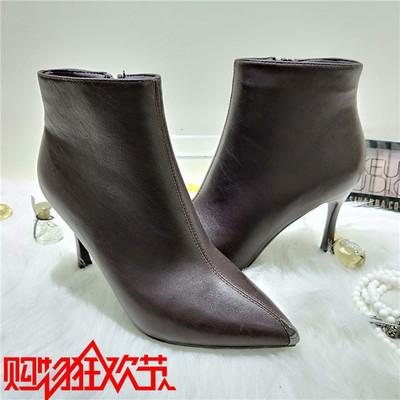 纤孜冬季新款加厚短靴光面细跟矮靴尖头高跟鞋女ckvv女鞋M181-26