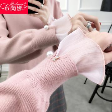 毛衣女甜美春装韩版套头宽松外穿短款薄内搭时尚网纱针织打底衫潮