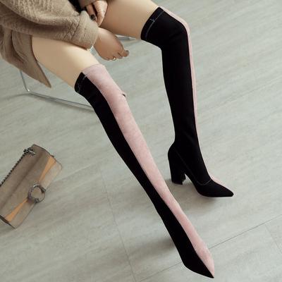 欧洲站过膝长靴拼色韩版款粗跟尖头高跟鞋显瘦弹力靴高筒磨砂女鞋
