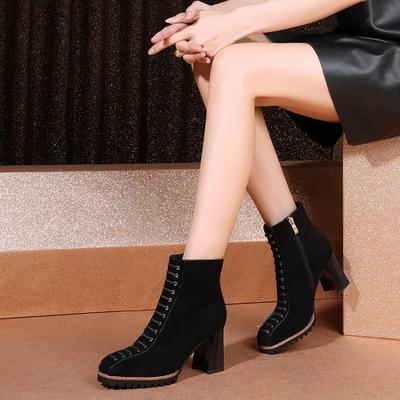 高跟鞋新款秋季鞋子女鞋鱼嘴网纱镂空粗跟防水台厚底短靴单靴单鞋