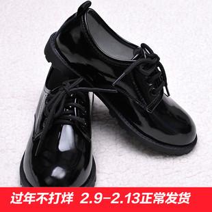 儿童皮鞋男童单鞋黑色 花童学生表演演出皮鞋 亮面精品