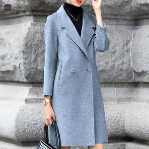 韩依奴双面羊毛大衣 女秋冬2017新款韩版呢子修身中长款毛呢外套
