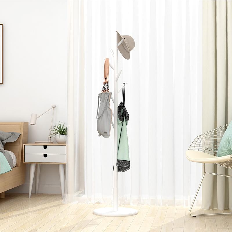 衣架落地挂衣架实木衣帽架卧室简易衣服架子家用简约现代单杆式