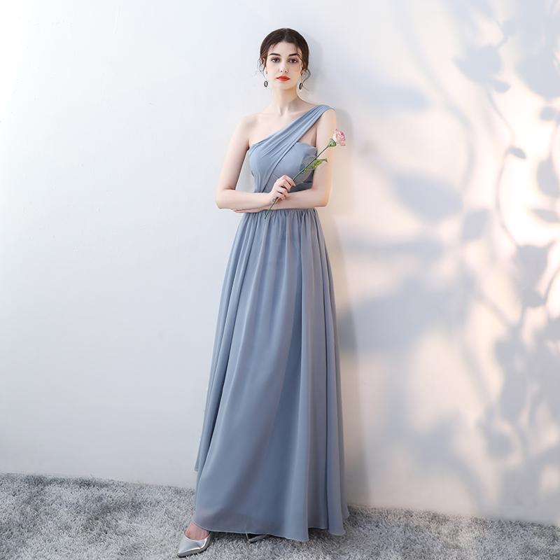 伴娘礼服女2019新款夏长款雪纺晚礼服灰色显瘦伴娘团服长裙姐妹裙