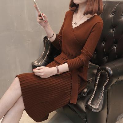 秋装2018新款女韩版时尚V领腰带收腰修身针织连衣裙中长款毛衣裙