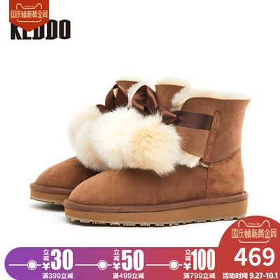 keddo雪地靴女蝴蝶结毛球加绒皮毛一体防水雪地靴短靴子平底冬季