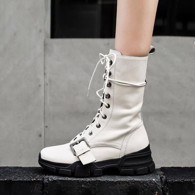 白色厚底单靴女2018新款女靴真皮秋冬马丁靴女英伦风学生中筒靴子