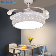Invisible fan light ceiling fan light Nordic restaurant home modern minimalist living room bedroom remote control charged fan chandelier