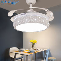 Grid invisible fan light ceiling fan light Nordic restaurant home modern minimalist living room bedroom with electric fan chandelier