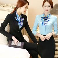 酒店工作服秋冬女装职业套装女西服长袖前台服务员收银员套装ktv