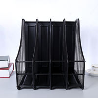 Metal iron net four-column file rack Four-speed bookshelf data rack Collection rack file box Four grid book files