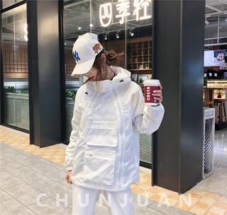 欧洲站春装新款工装短款风衣外套大兜拉链防风连帽夹克开衫女装潮