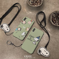 Japanese and Korean cartoon dog iphoneX mobile phone shell Apple 8plus lanyard protective cover 6s/7p soft Xs max/Xr