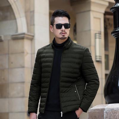 简约风格纯色休闲商务冬装外套保暖翻领宽松锻炼运动棉衣外穿男式