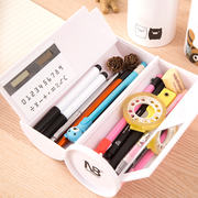 Shaking tone with the network red pen box stationery box Korean version of the small fresh cartoon cute pencil bag junior high school boys and girls simple creative storage box large capacity multi-function pencil box pupils pencil case