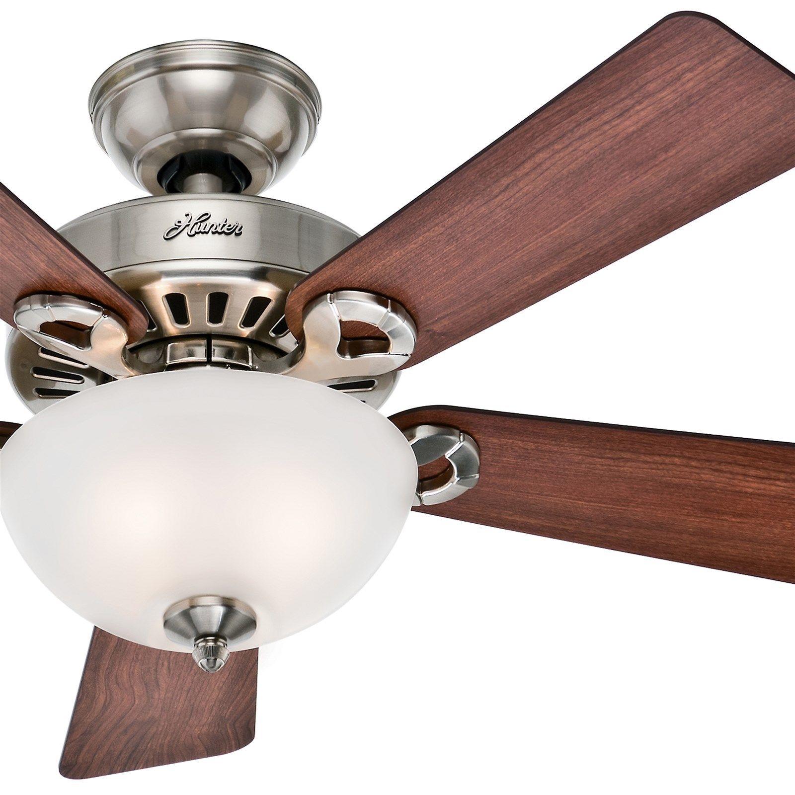 欧美代购 照明风扇 44猎人吊扇拉丝镍装入白色卧室客厅风扇灯装饰