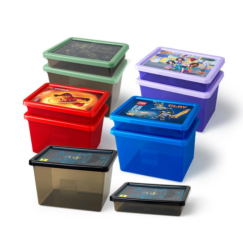 乐高Room积木玩具储物箱带格分类收纳盒特大号塑料透明有盖整理箱