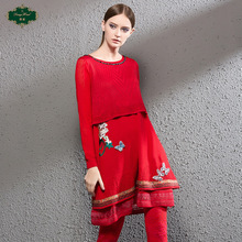 Deng Hao's original spring new product counter with embroidered fashionable knitted dress fake two medium and long skirts