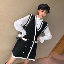 右米韩版名媛小香风时尚套装新款毛线裙衬衣套装毛衣背心裙两件套
