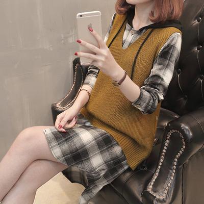 女士加厚毛衣女韩版新款连帽卫衣针织打底裙两件套格子裙背心套装