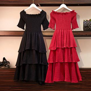 大码女装裙子 2019夏装新款胖mm雪纺一字领显瘦连衣裙过膝蛋糕裙