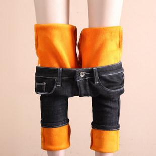 高腰加绒牛仔裤女冬季加厚保暖大码弹力带绒小脚铅笔裤秋冬款外穿