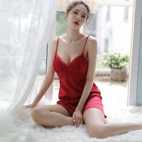 Sexy nightdress female summer hot adult ice silk strap chest pad sexy pajamas mood dress people big size sexy underwear
