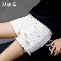 白色牛仔短裤女夏2018新款高腰韩版宽松学生百搭破洞ins修身热裤